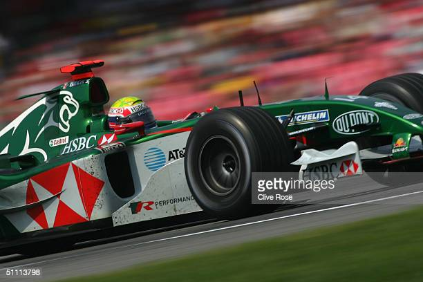 Mark Webber of Australia and Jaguar in action during the German F1 Grand Prix at the Hockenheim Circuit on July 25 in Hockenheim, Germany.