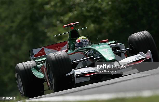 Mark Webber of Australia and Jaguar in action during the practice session for the Hungarian F1 Grand Prix at the Hungaroring Circuit on August 13 in...