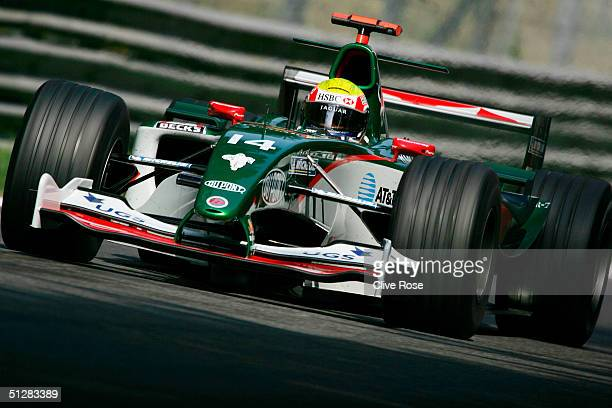 Mark Webber of Australia and Jaguar in action during the practice session for the Italian F1 Grand Prix at the Autodromo Nazionale di Monza Circuit...