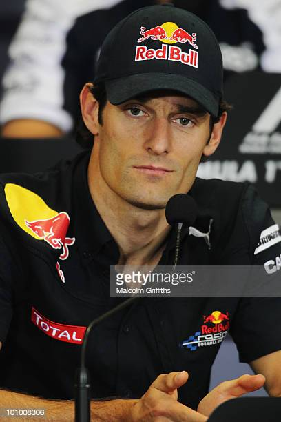 Mark Webber of Australia and Red Bull Racing attends the drivers press conference during previews to the Turkish Formula One Grand Prix at Istanbul...