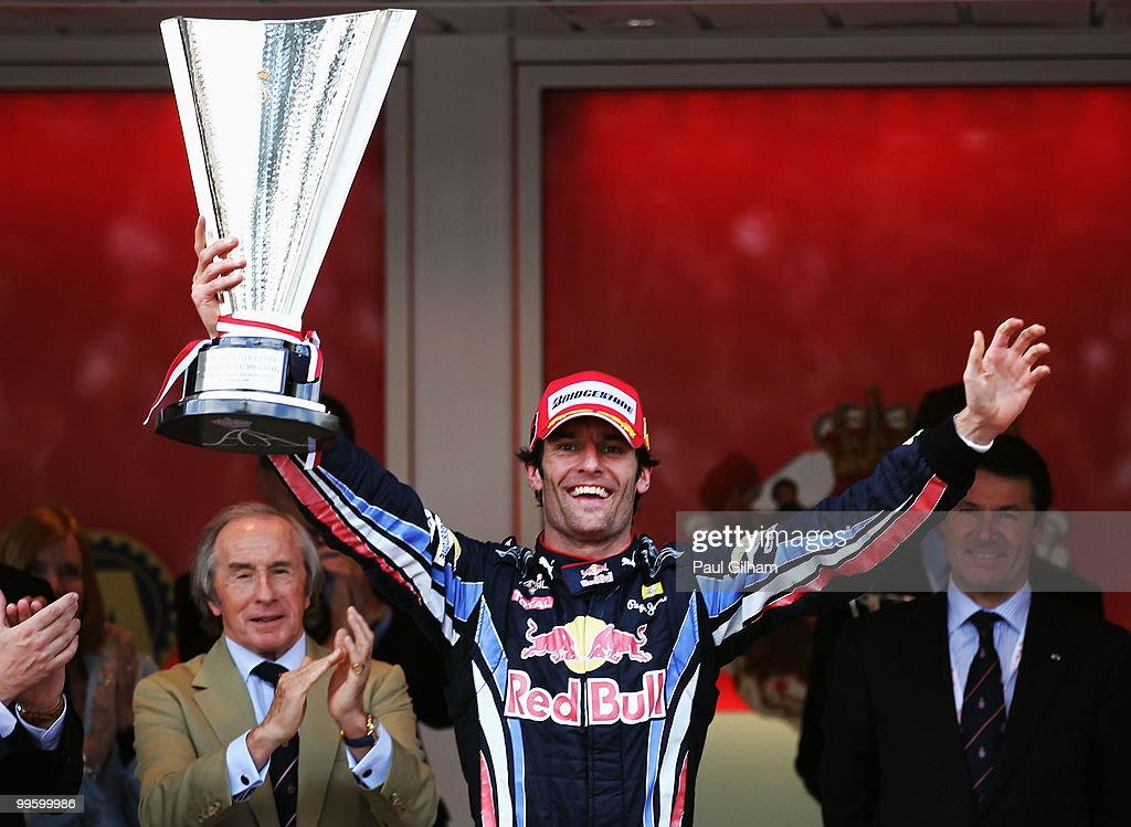 Mark Webber of Australia and Red Bull Racing celebrates after winning the Monaco Formula One Grand Prix at the Monte Carlo Circuit on May 16, 2010 in Monte Carlo, Monaco.