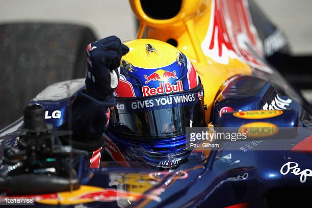 Mark Webber of Australia and Red Bull Racing celebrates in parc ferme after winning the Hungarian Formula One Grand Prix at the Hungaroring on August...