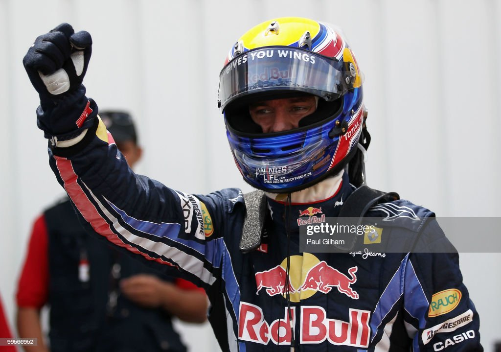 Mark Webber of Australia and Red Bull Racing celebrates in parc ferme after finishing first during qualifying for the Monaco Formula One Grand Prix at the Monte Carlo Circuit on May 15, 2010 in Monte Carlo, Monaco.