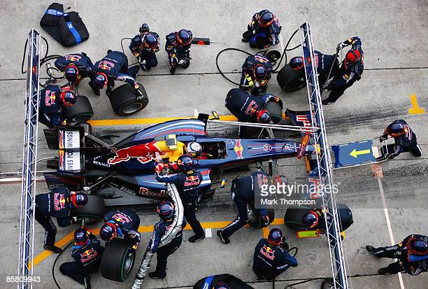 Mark Webber of Australia and Red Bull Racing comes in for a pitstop during the Malaysian Formula One Grand Prix at the Sepang Circuit on April 5 2009...