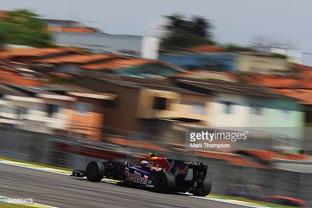 Mark Webber of Australia and Red Bull Racing drives during practice for the Brazilian Formula One Grand Prix at the Interlagos Circuit on November 5...