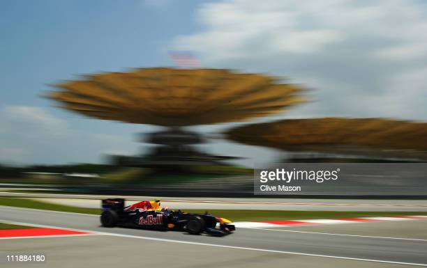 Mark Webber of Australia and Red Bull Racing drives during practice for the Malaysian Formula One Grand Prix at the Sepang Circuit on April 8 2011 in...