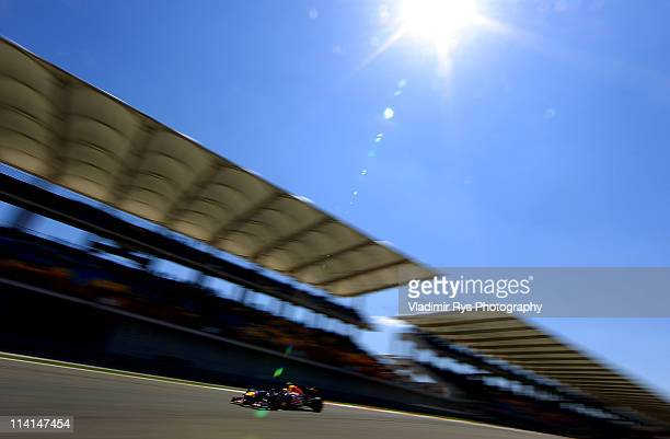 Mark Webber of Australia and Red Bull Racing drives during qualifying for the Turkish Formula One Grand Prix at the Istanbul Park circuit on May 7,...