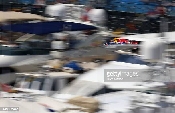 Mark Webber of Australia and Red Bull Racing drives during the final practice session prior to qualifying for the Monaco Formula One Grand Prix at...