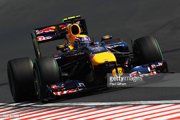 Mark Webber of Australia and Red Bull Racing drives during the Hungarian Formula One Grand Prix at the Hungaroring on August 1 2010 in Budapest...