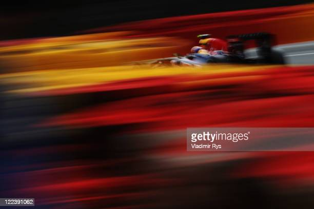 Mark Webber of Australia and Red Bull Racing drives during the Belgian Formula One Grand Prix at the Circuit of Spa Francorchamps on August 28 2011...