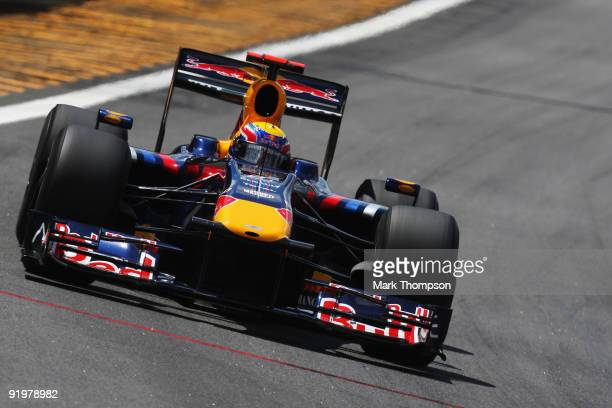 Mark Webber of Australia and Red Bull Racing drives during the Brazilian Formula One Grand Prix at Interlagos Circuit on October 18 2009 in Sao Paulo...