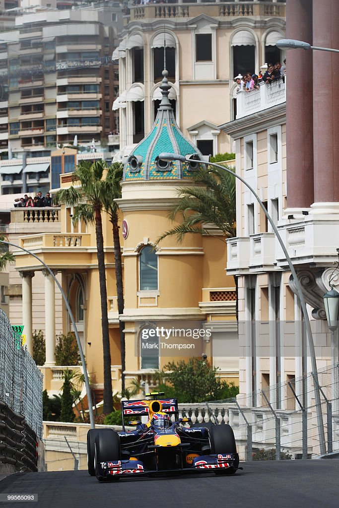 Mark Webber of Australia and Red Bull Racing drives in the final practice session prior to qualifying for the Monaco Formula One Grand Prix at the Monte Carlo Circuit on May 15, 2010 in Monte Carlo, Monaco.