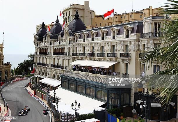Mark Webber of Australia and Red Bull Racing drives in the final practice session prior to qualifying for the Monaco Formula One Grand Prix at the...