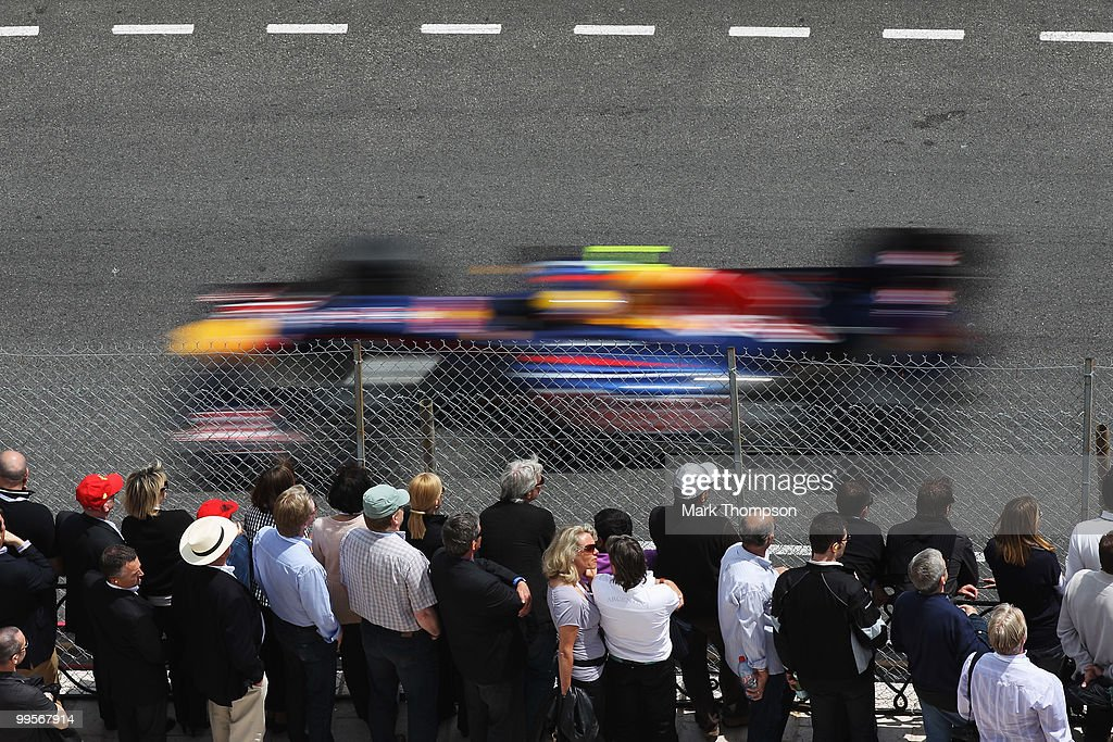 Mark Webber of Australia and Red Bull Racing drives on his way to finishing first during qualifying for the Monaco Formula One Grand Prix at the Monte Carlo Circuit on May 15, 2010 in Monte Carlo, Monaco.