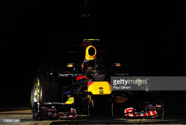 Mark Webber of Australia and Red Bull Racing drives out of the team garage during day one of winter testing at the Circuito de Jerez on February 10...
