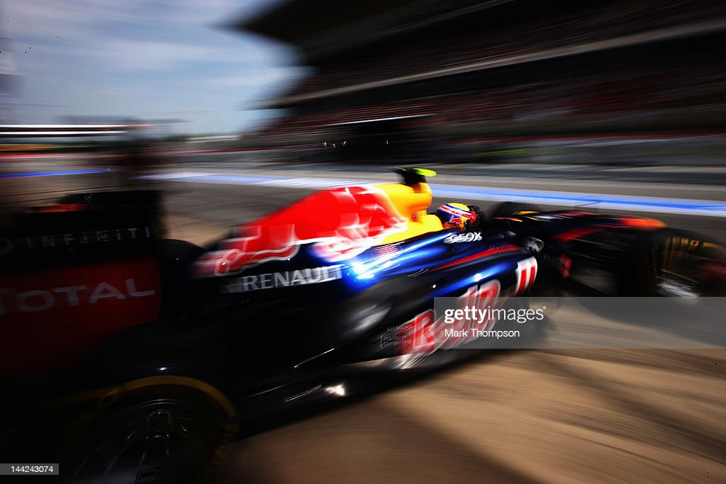 Mark Webber of Australia and Red Bull Racing exits his garage to drive during qualifying for the Spanish Formula One Grand Prix at the Circuit de Catalunya on May 12, 2012 in Barcelona, Spain.