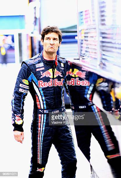 Mark Webber of Australia and Red Bull Racing is pictured in the paddock during winter testing at the Circuito De Jerez on February 19 2010 in Jerez...