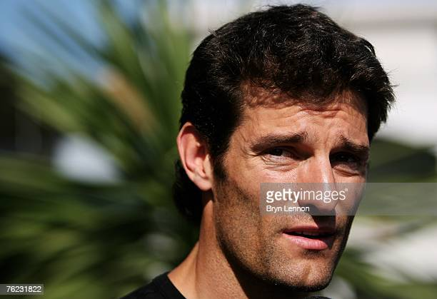 Mark Webber of Australia and Red Bull Racing looks on in the paddock during the Previews to F1 Grand Prix of Turkey at the Istanbul Park on August 23...