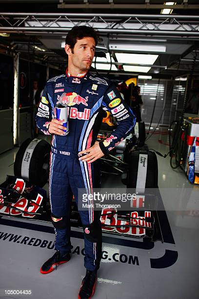 Mark Webber of Australia and Red Bull Racing prepares to drive during practice for the Japanese Formula One Grand Prix at Suzuka Circuit on October 8...