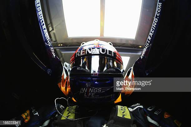 Mark Webber of Australia and Red Bull Racing prepares to drive during practice for the Abu Dhabi Formula One Grand Prix at the Yas Marina Circuit on...