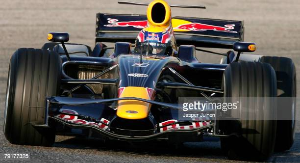 Mark Webber of Australia and Red Bull Racing steers his car during Formula one testing at the Ricardo Tormo racetrack on January 23 in Cheste near...