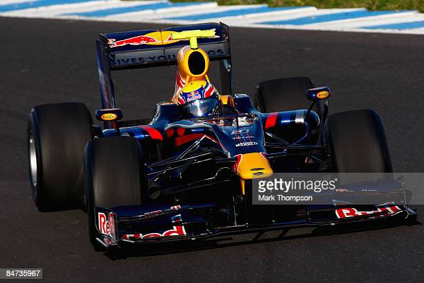 Mark Webber of Australia and team Red Bull Racing in action during formula one testing at the Circuito de Jerez on February 11 2009 in Jerez de la...