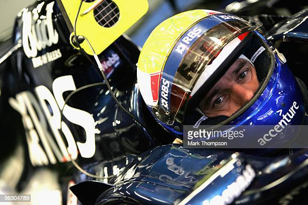 Mark Webber of Australia and team Williams shown in the garage during Formula One winter testing at the Circuit De Catalunya in Barcelona Spain...