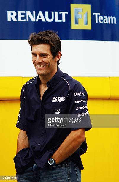 Mark Webber of Australia and Williams in the paddock after qualifying for the Hungarian Formula One Grand Prix at the Hungaroring on August 5 in...
