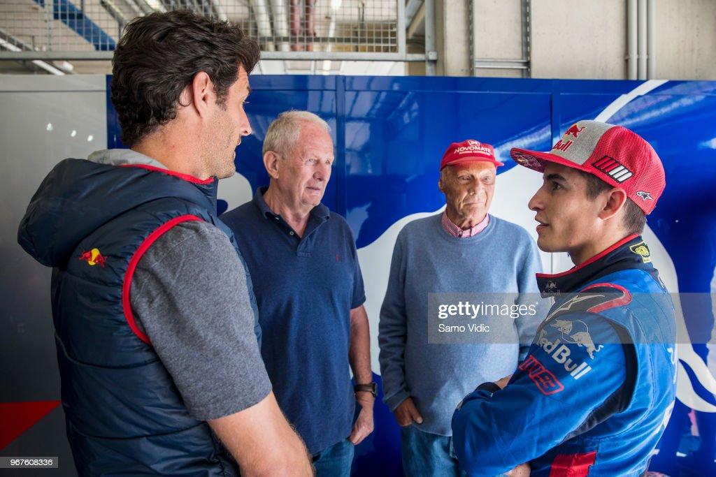 Mark Webber of Australia, Dr. Helmut Marko, Niki Lauda and Moto GP rider Marc Marquez of Spain talk prior the F1 testing on June 5, 2018 in Spielberg, Austria.