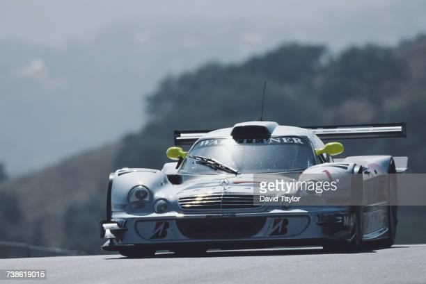 Mark Webber of Australia drives the AMG Mercedes MercedesBenz CLK LM during the FIA GT Championship Visa Sports Car Championships Laguna Seca 500km...