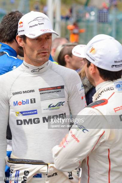 Mark Webber Porsche driver and former F1 racing driver talking to racing driver Neel Jani at the start grid during the 6 Hours of SpaFrancorchamps...