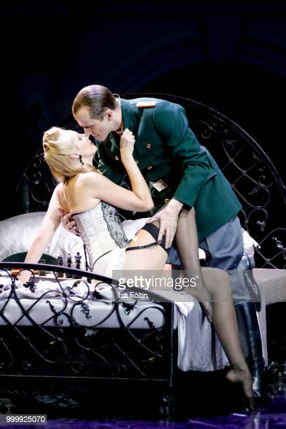 Mark Weigel as Peron and Bettina Moench as Evita during the Thurn Taxis Castle Festival 2018 'Evita' Musical on July 15 2018 in Regensburg Germany