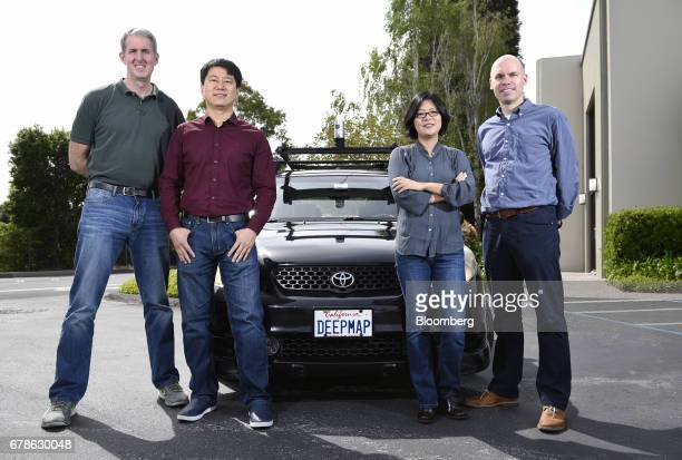 Mark Wheeler chief technology officer and cofounder of DeepMap Inc from left James Wu chief executive officer and cofounder of DeepMap Inc Wei Luo...