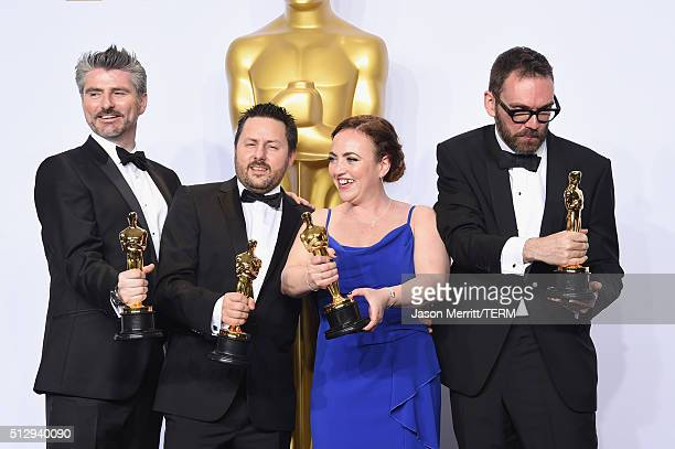 Mark Williams Ardington Paul Norris Sara Bennett and Andrew Whitehurst winners of the Best Visual Effects award for 'Ex Machina' pose in the press...
