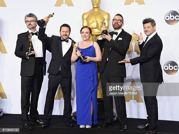 Mark Williams Ardington Paul Norris Sara Bennett and Andrew Whitehurst winners of the Best Visual Effects award for 'Ex Machina' and actor Andy...