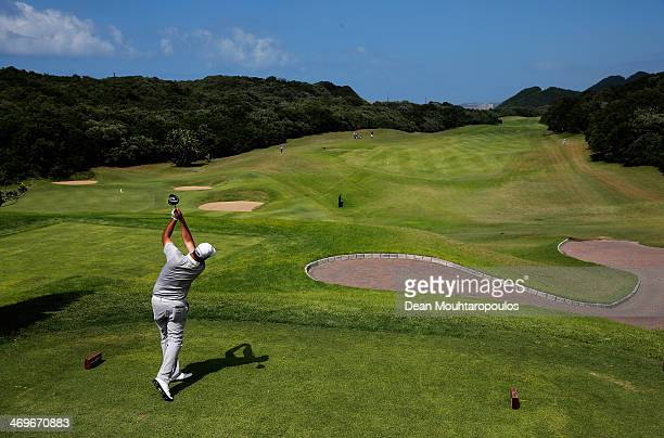 Mark Williams of South Africa hits his tee shot on the 3rd hole during Final Day of the Africa Open at East London Golf Club on February 16 2014 in...