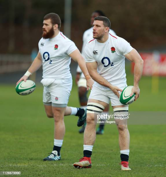 Mark Wilson looks to pass the ball during the England captain's run at UCD Sports Complex on February 01, 2019 in Dublin, Ireland.