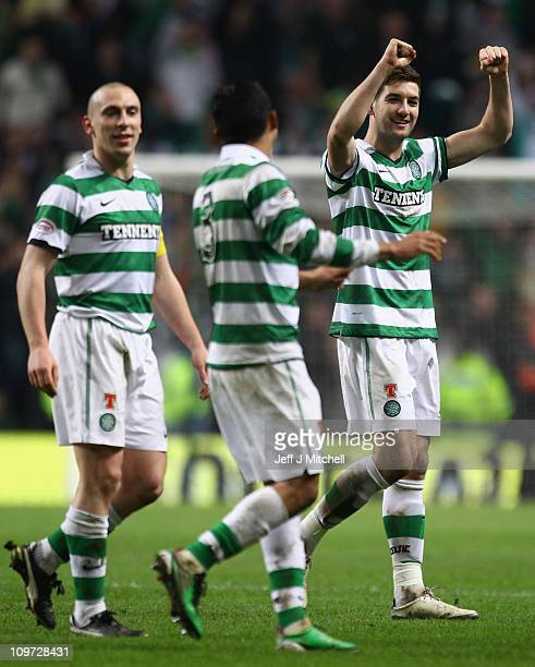 Mark Wilson of Celtic celebrates with Scott Brown and Emilio Izaguirre following the Scottish Cup fifth round match between Celtic and Rangers at...