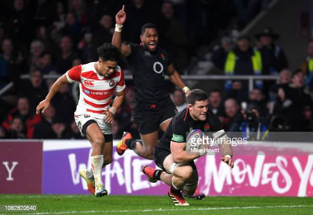Mark Wilson of England goes over to score during the Quilter International match between England and Japan at Twickenham Stadium on November 17, 2018...