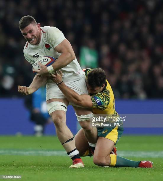 Mark Wilson of England is tackled during the Quilter International match between England and Australia on November 24 2018 in London United Kingdom