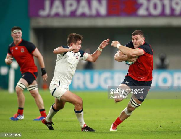 Mark Wilson of England on the charge during the Rugby World Cup 2019 Group C game between England and USA at Kobe Misaki Stadium on September 26 2019...