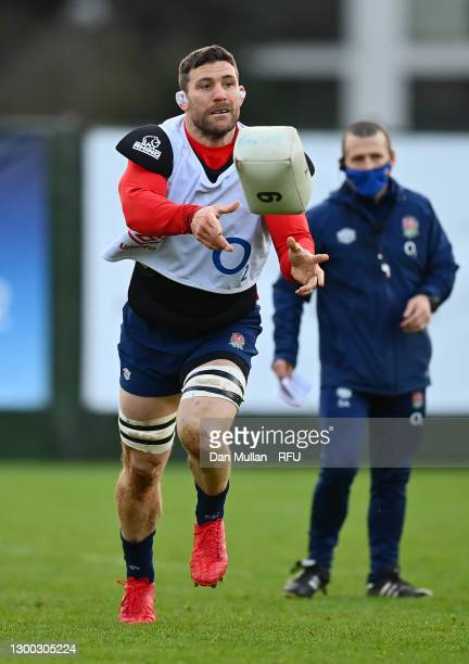 Mark Wilson of England releases a pass during a training session at The Lensbury on February 03, 2021 in Teddington, England.