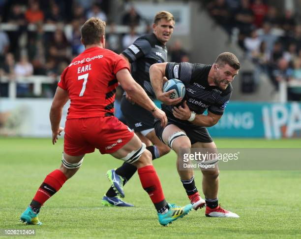 Mark Wilson of Newcastle Falcons charges upfield during the Gallagher Premiership Rugby match between Newcastle Falcons and Saracens at Kingston Park...