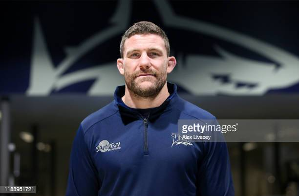 Mark Wilson of Sale Sharks poses for a portrait prior to a press conference at Sale Sharks Training Ground on November 20 2019 in Carrington England