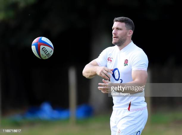 Mark Wilson passes the ball during the England captain's run at Pennyhill Park on August 23, 2019 in Bagshot, England.