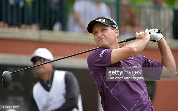 Mark Wilson tees off on the 1st hole during the first round at the Crowne Plaza Invitational at Colonial on Thursday May 21 in Fort Worth Texas