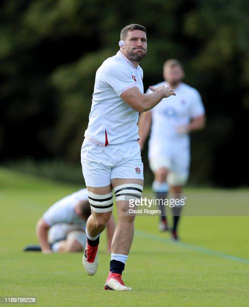 Mark Wilson warms up during the England captain's run at Pennyhill Park on August 23, 2019 in Bagshot, England.
