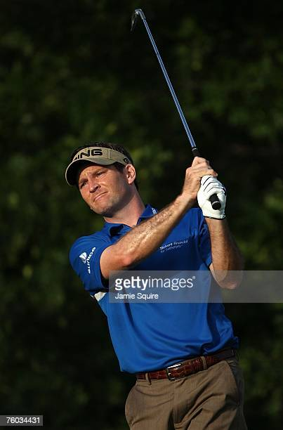 Mark Wilson watches his shot on the 11th hole during the first round of the 89th PGA Championship at the Southern Hills Country Club on August 9 2007...