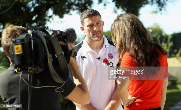 Mark Wilson who has been selected to play against the South Africa Springboks faces the media during the England media session held at Browns Sport...