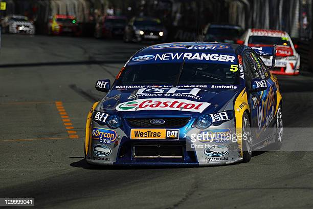 Mark Winterbottom and Richard Lyons of the Ford Performance Racing Ford during race two of the V8 Supercars Gold Coast 600 at the Gold Coast Street...